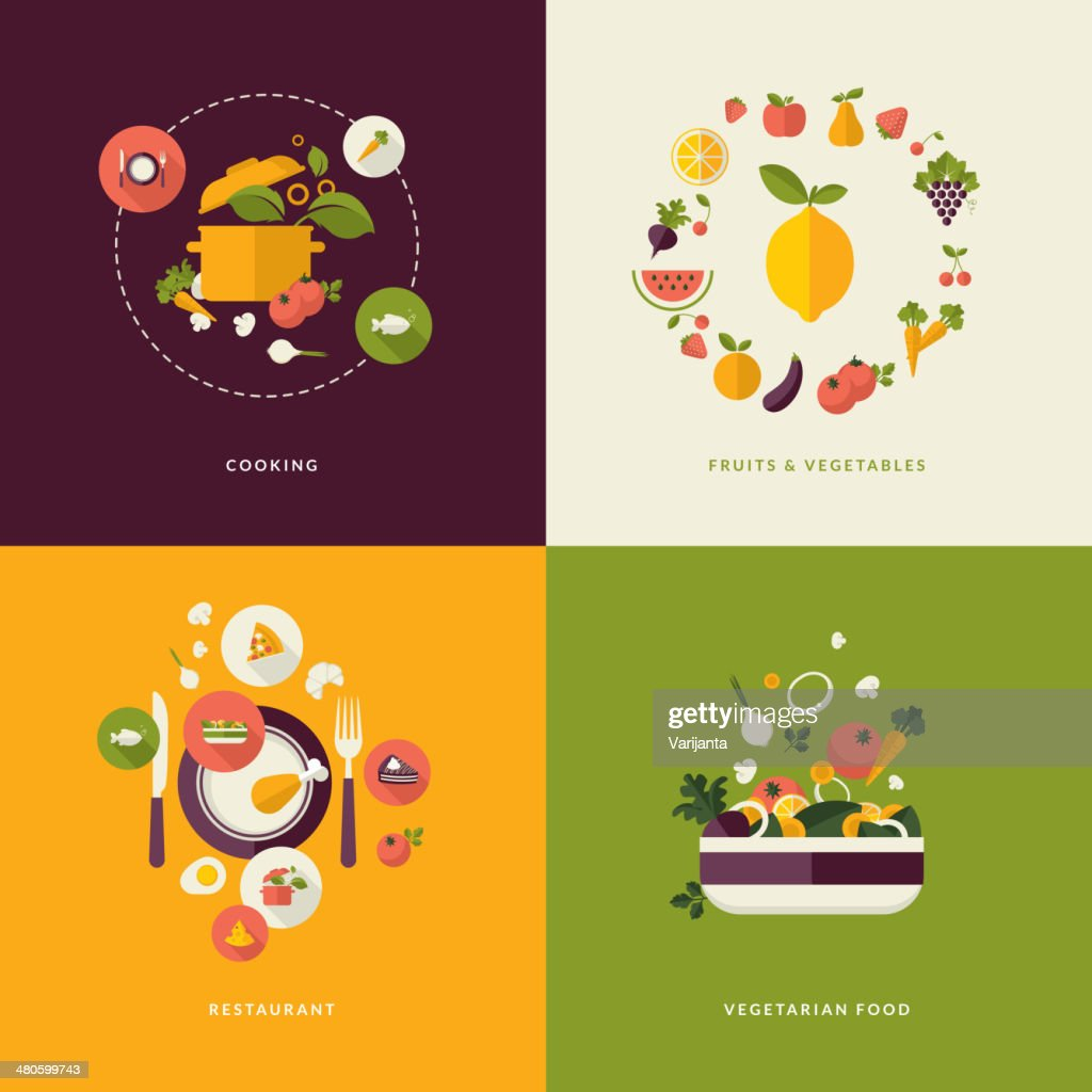 Set of flat design concept icons for food and restaurant : Vector Art