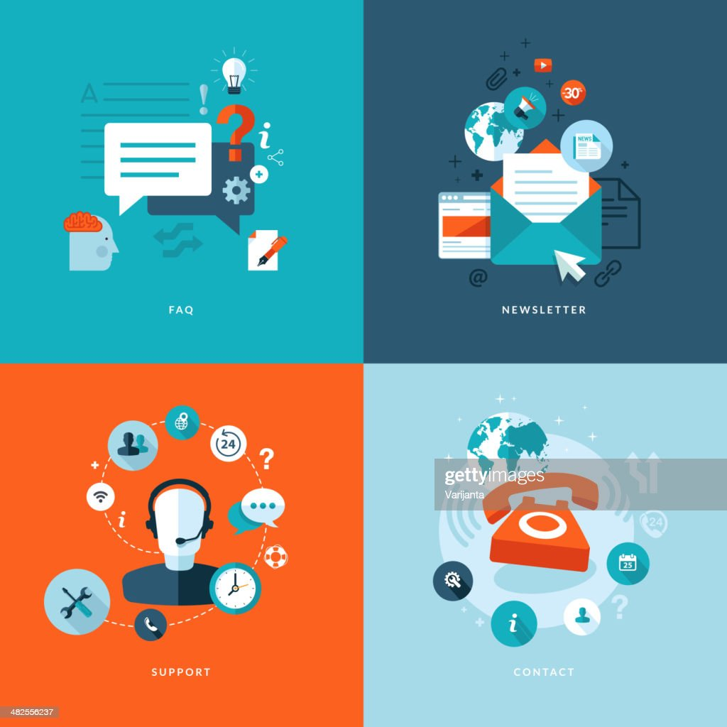 Set of flat design concept icons for online services