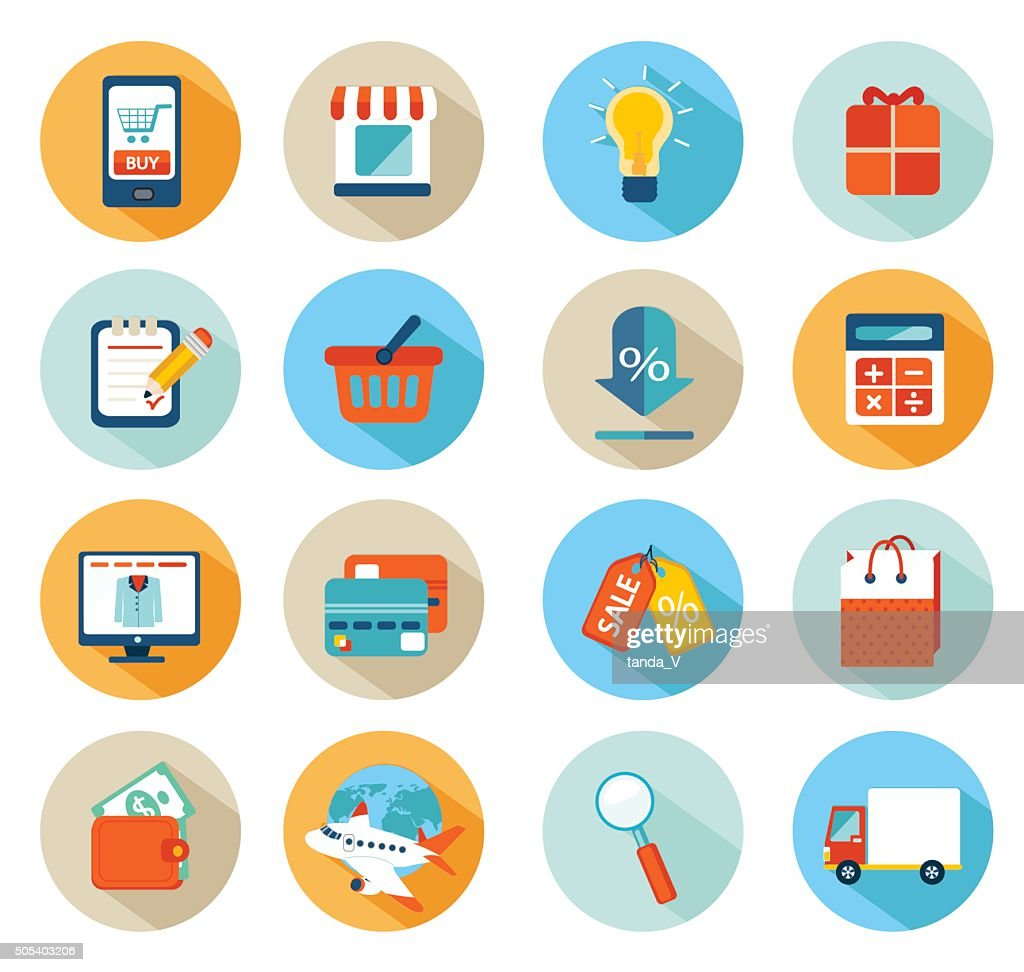Set of flat design concept icons for online shopping.