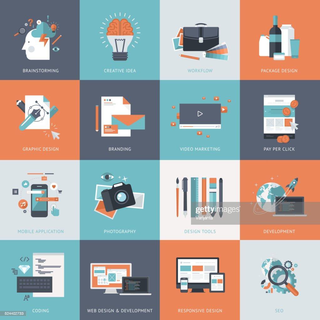Set of flat design concept icons for web design