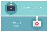 Set of flat design concepts Business lifestyle and First aid.