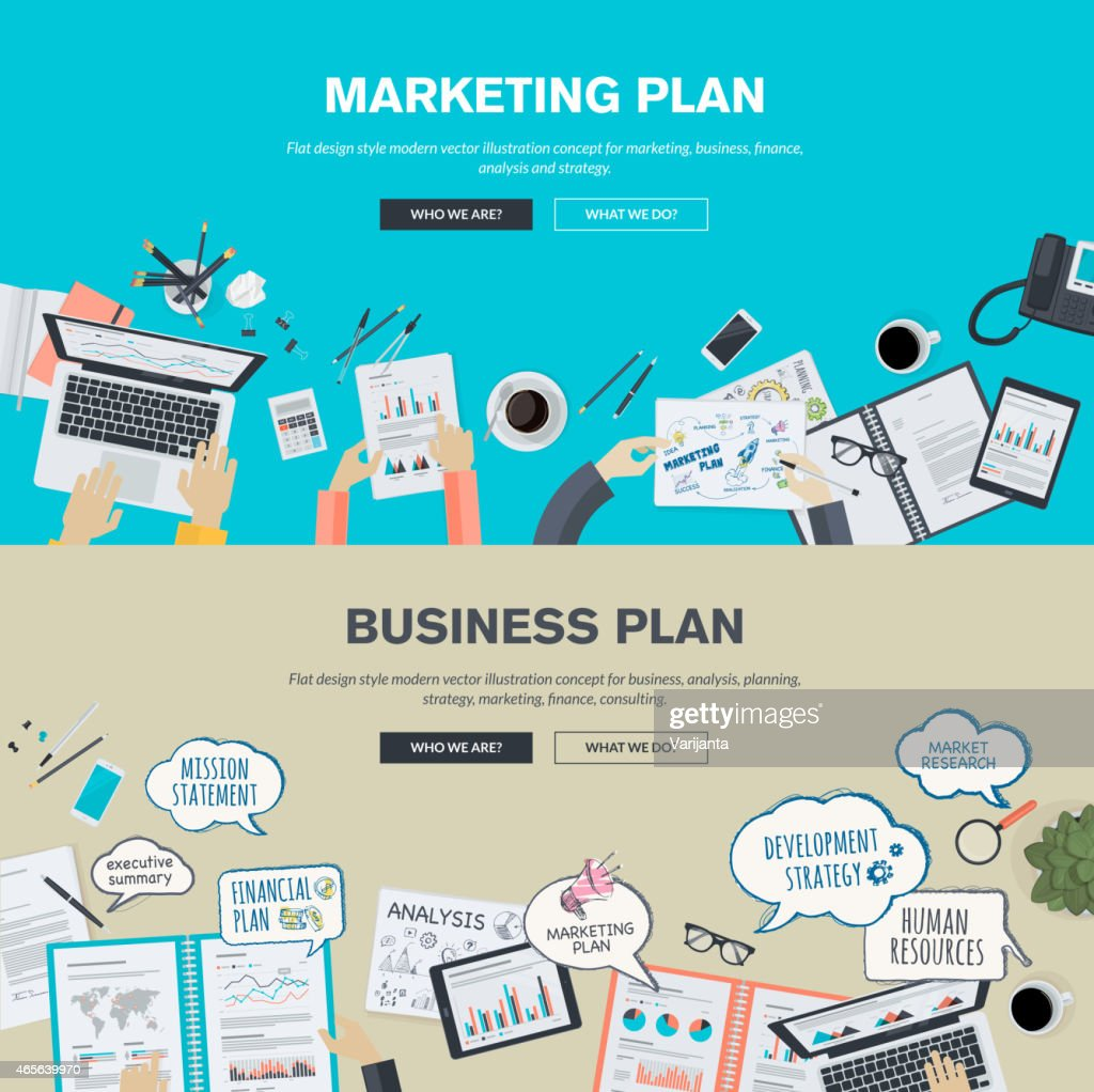 Set of flat design concepts for business and marketing plan