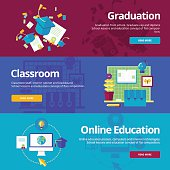 Set of flat design concepts for graduation, classroom, online education.