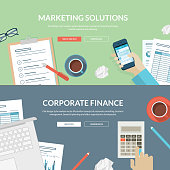 Set of flat design concepts for marketing and finance