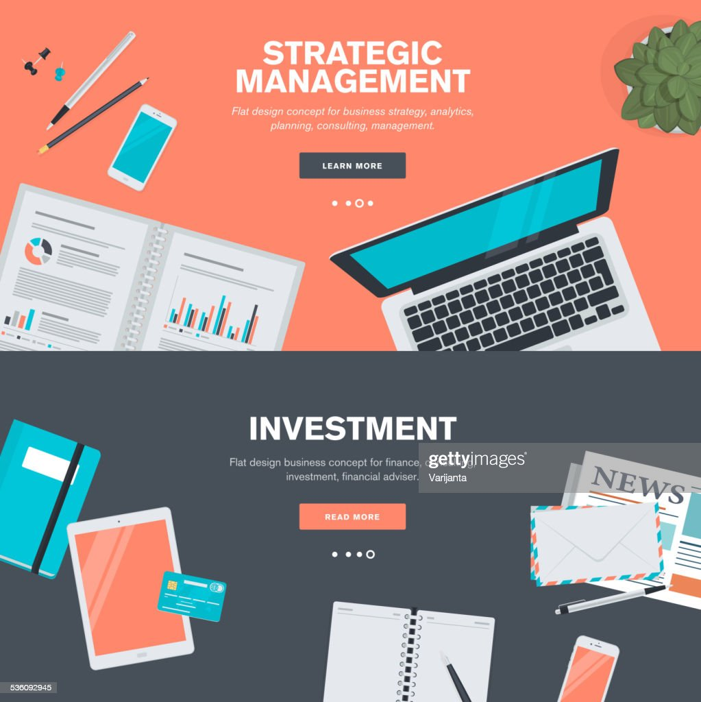 Set of flat design concepts for strategic management and investment