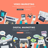 Set of flat design concepts for video and digital marketing