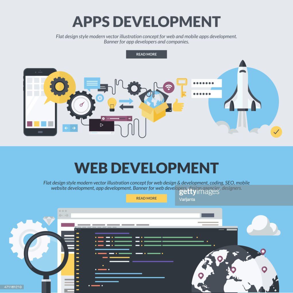 Set of flat design concepts for website design and development