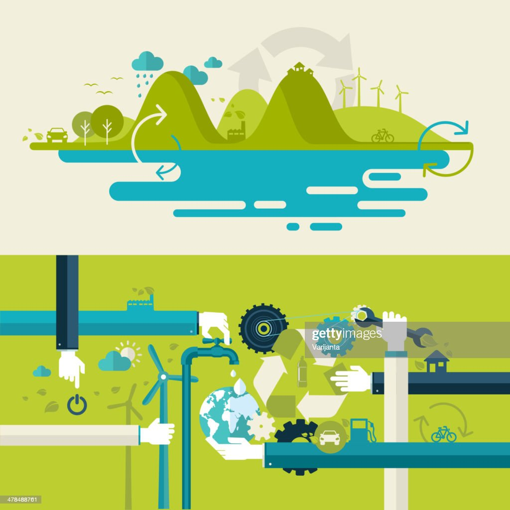 Set of flat design concepts on ecology theme