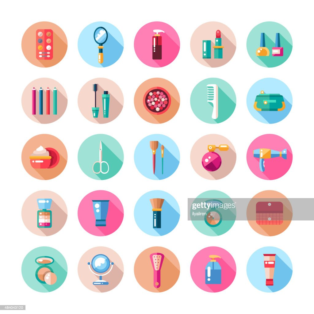 Set of flat design cosmetics, make up icons and elements