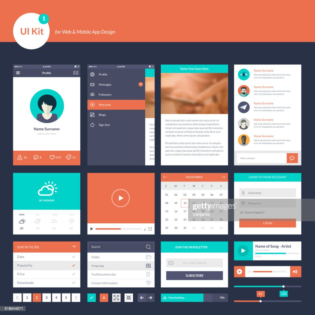 Set of flat design elements for website development