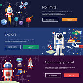 Set of flat design flyers and headers with space icons