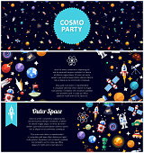 Set of flat design flyers with space icons and infographics