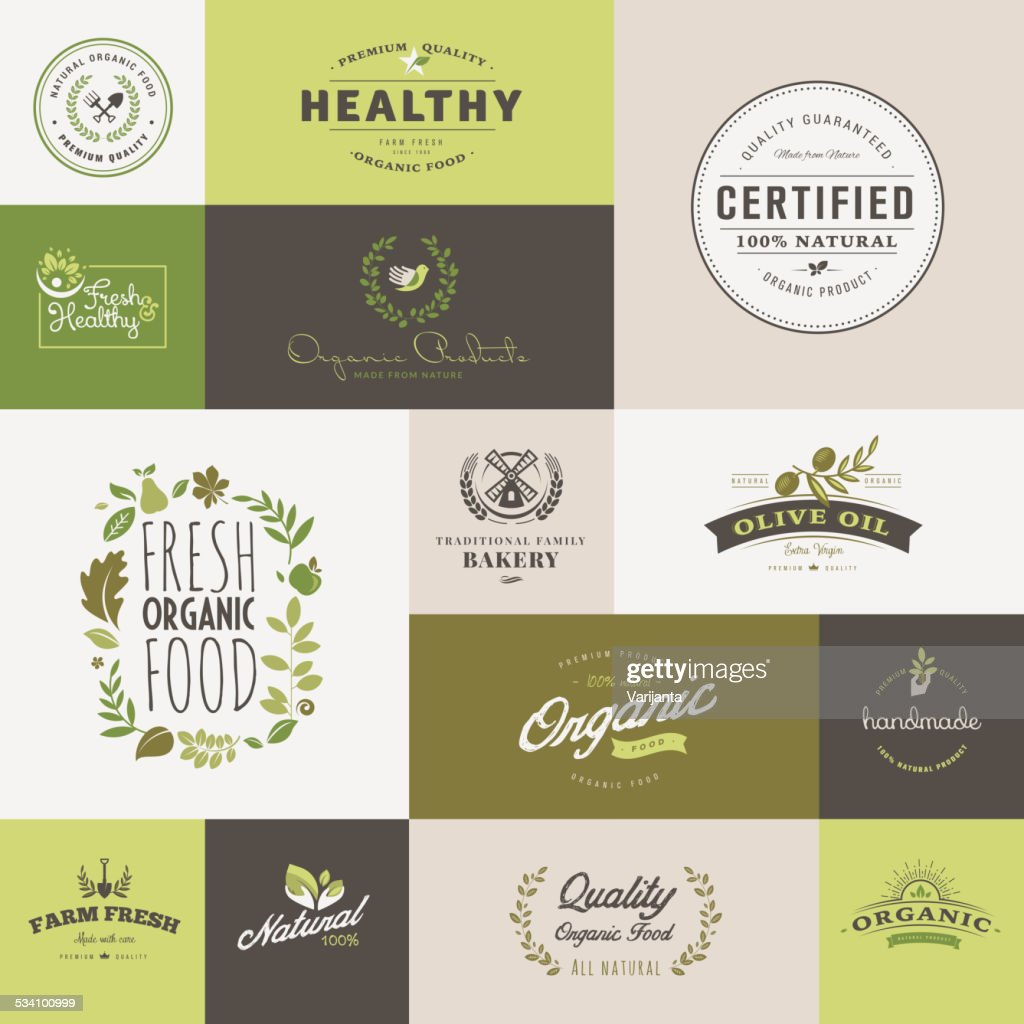 Set of flat design icons for organic food and drink