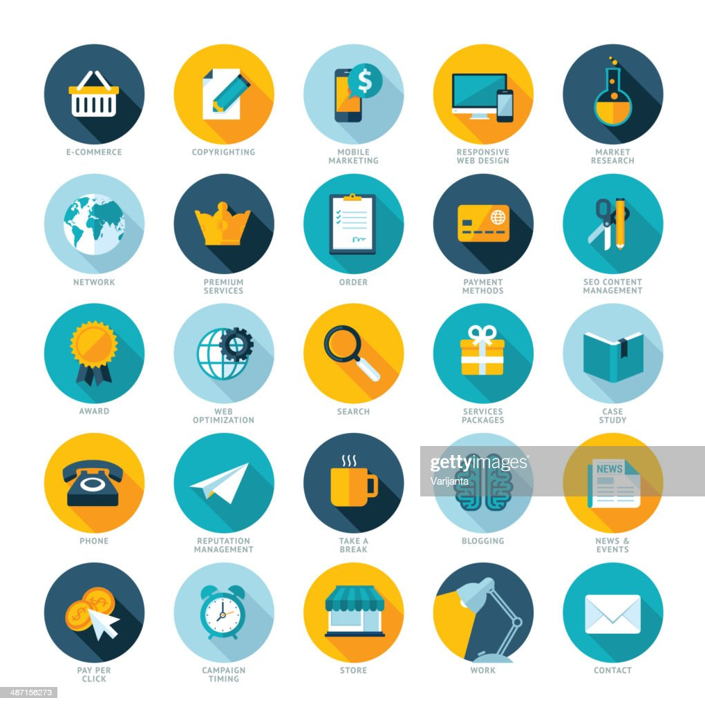 Set of flat design icons for web marketing