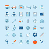 Set of flat design icons on medicine theme