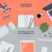 Set of flat design illustration concept for education