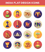 Set of flat design India travel icons and infographics elements