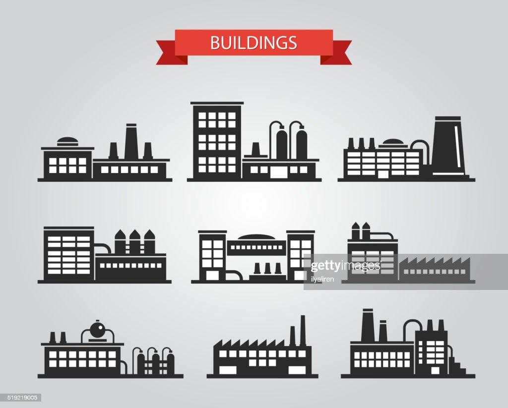 Set of flat design industrial buildings pictograms