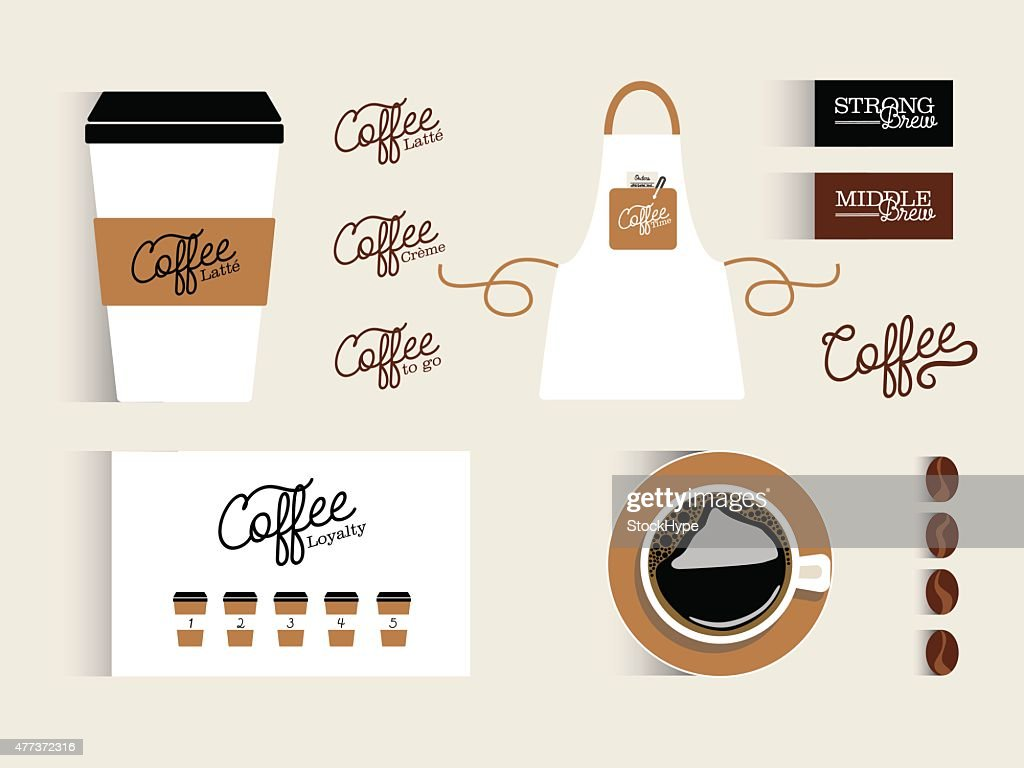 Set of flat design items for a coffee business.