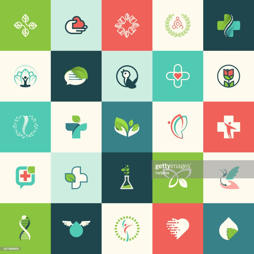 Set of flat design nature and beauty icons