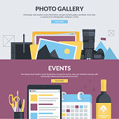Set of flat design style concepts for photo gallery, events