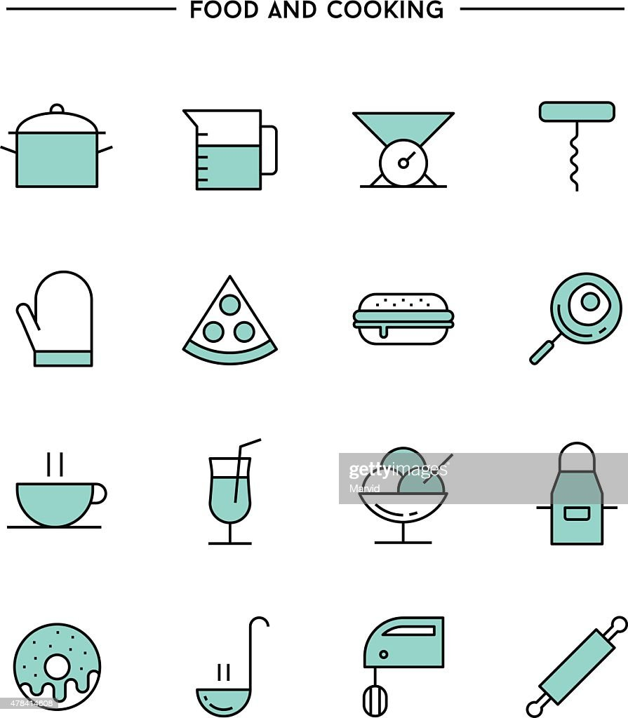 set of flat design, thin line food and cooking icons