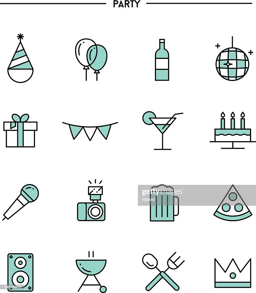 set of flat design, thin line party icons