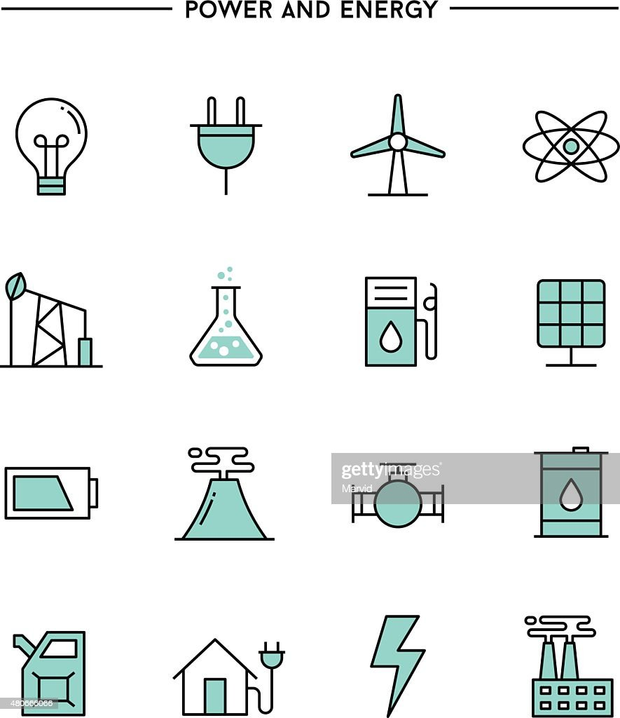 set of flat design, thin line power and energy icons