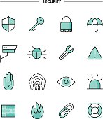 set of flat design, thin line security icons