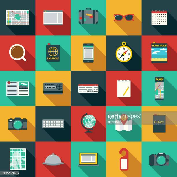 Set of Flat Design Travel Icons with Side Shadow