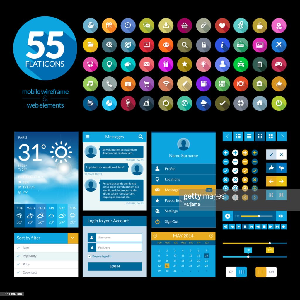 Set of flat design ui elements template and icons
