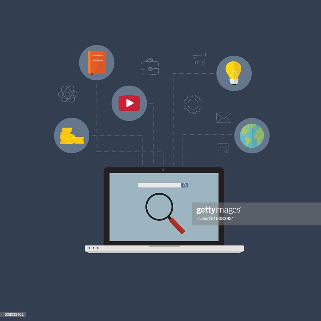 Set of flat design vector illustration concepts for search engine