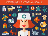 Set of flat design veterinary and pet icons