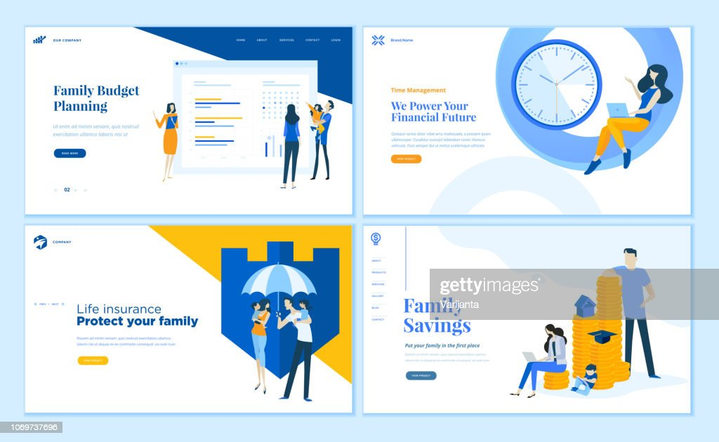 Set of flat design web page templates of family savings, budget planning, life insurance, time management.