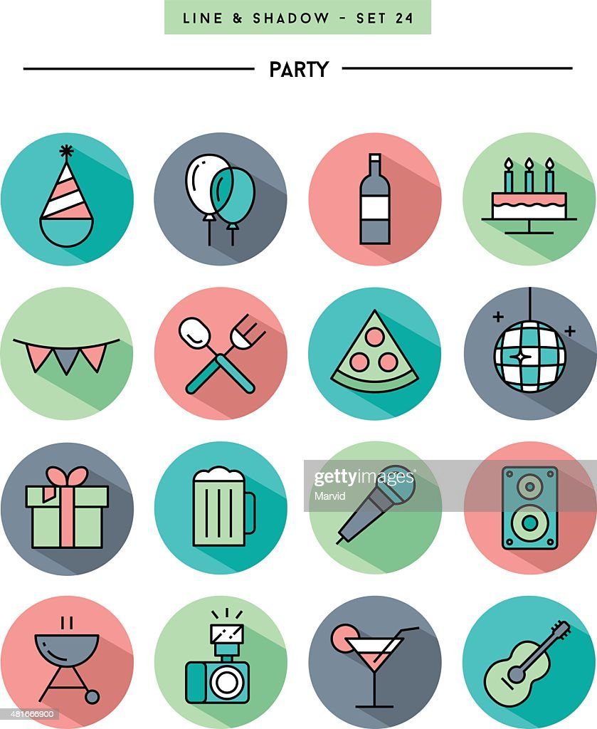 set of flat design,long shadow, thin line party icons
