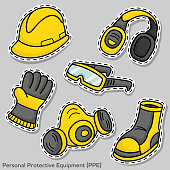 Set of flat element vector design of personal protective equipment (PPE) for web and media decorations.