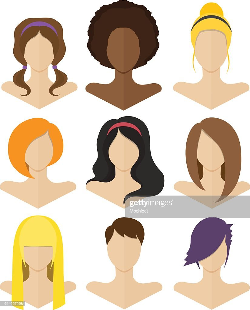 Set of flat female hairstyles