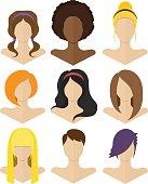 Set of flat female hairstyles
