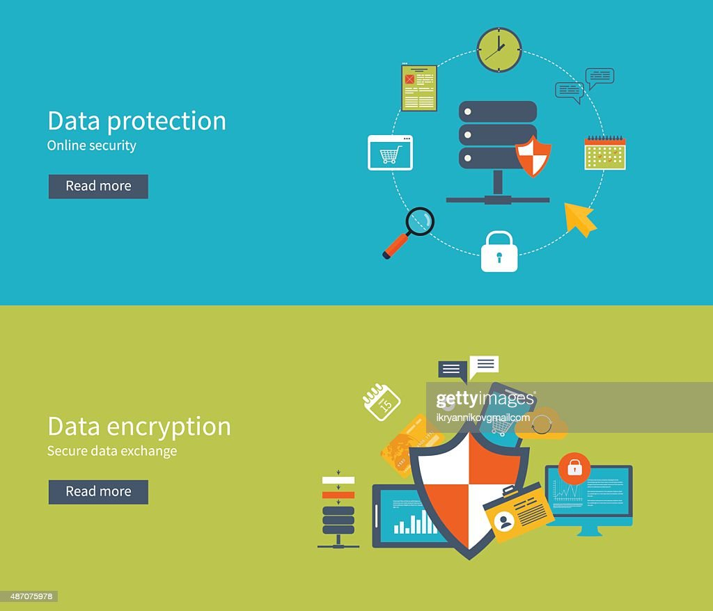 Set Of Flat For Data Protection Encryption And Safe Work Vector Art Security