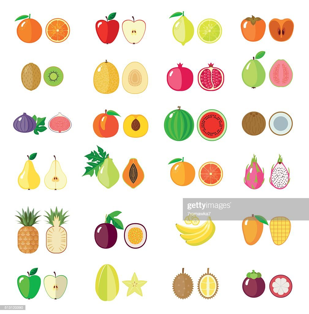 Set of flat fruits.