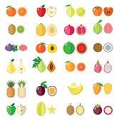 Set of flat fruits.