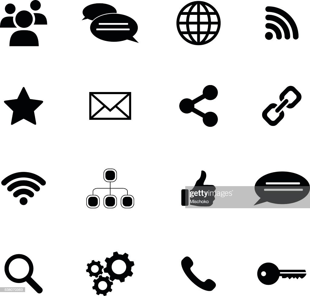 Set of flat icons - connection and social media