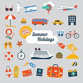 set of flat icons for summer holidays