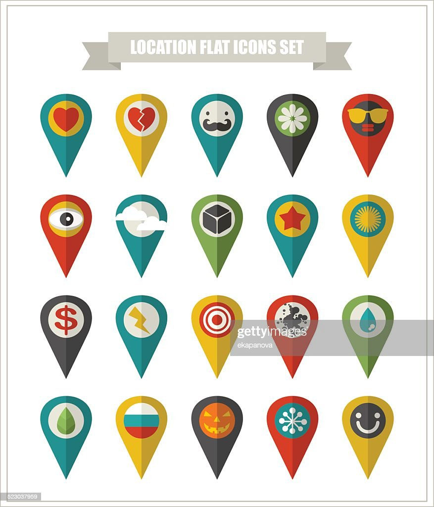 Set of flat icons location.