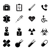 Set of flat icons - medicine, health, science and healthcare