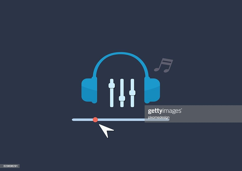 Set of flat illustration design music concept