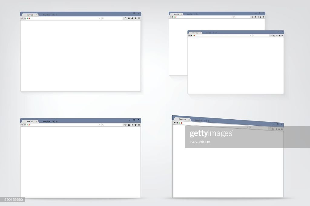 Set of flat internet browser windows with copy space for
