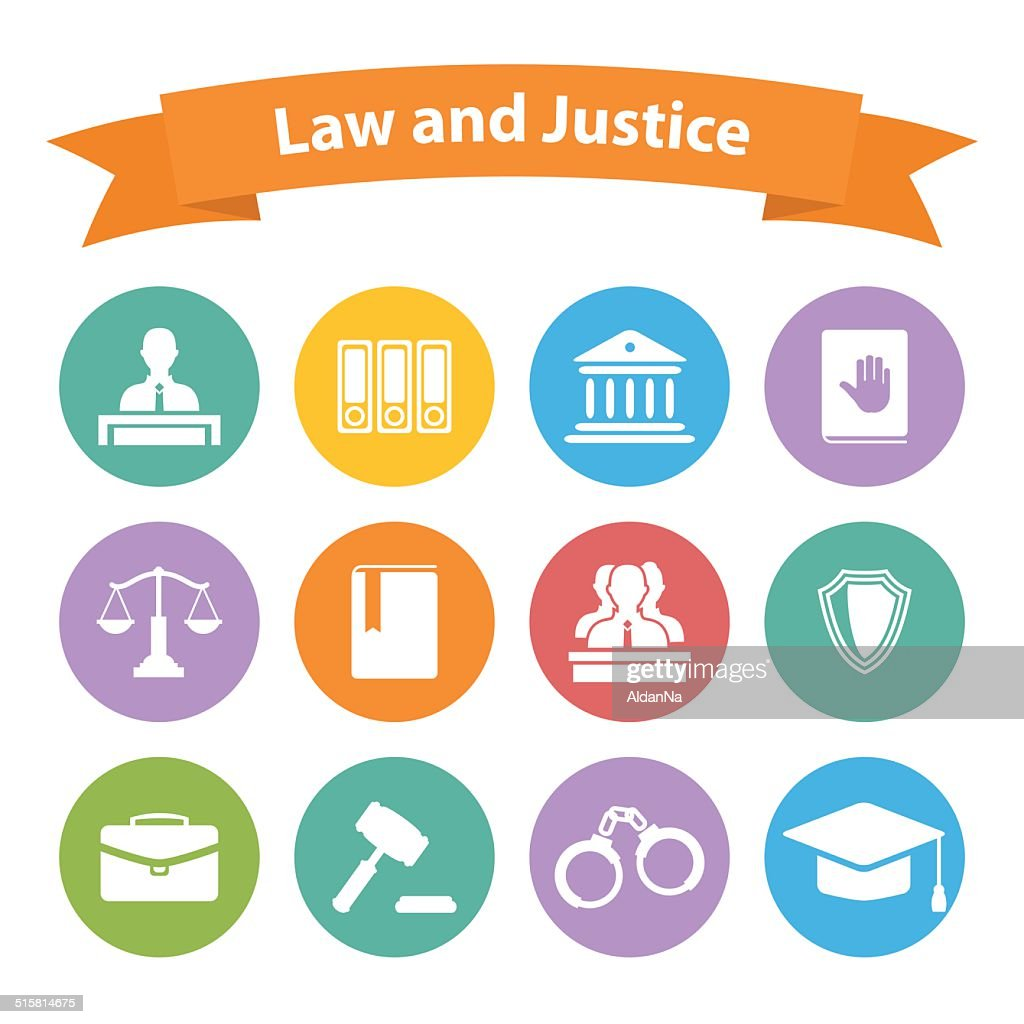 Set of flat law and justice icons
