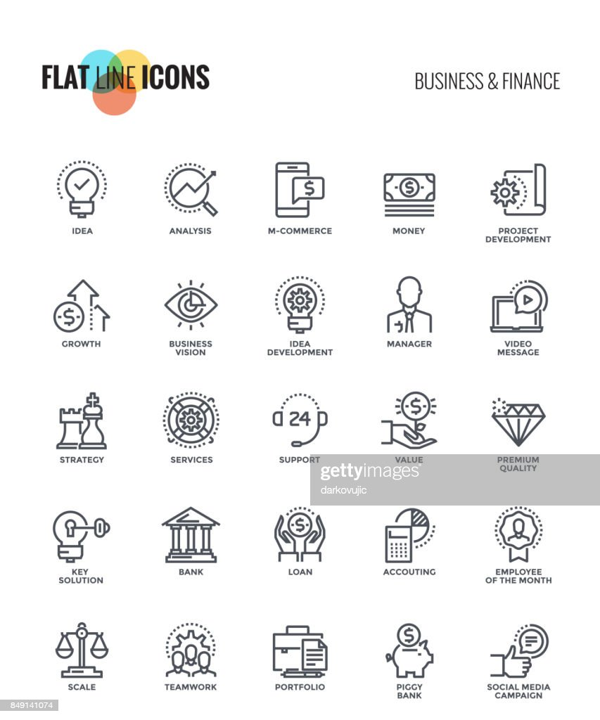 Set of flat line Business and Finance