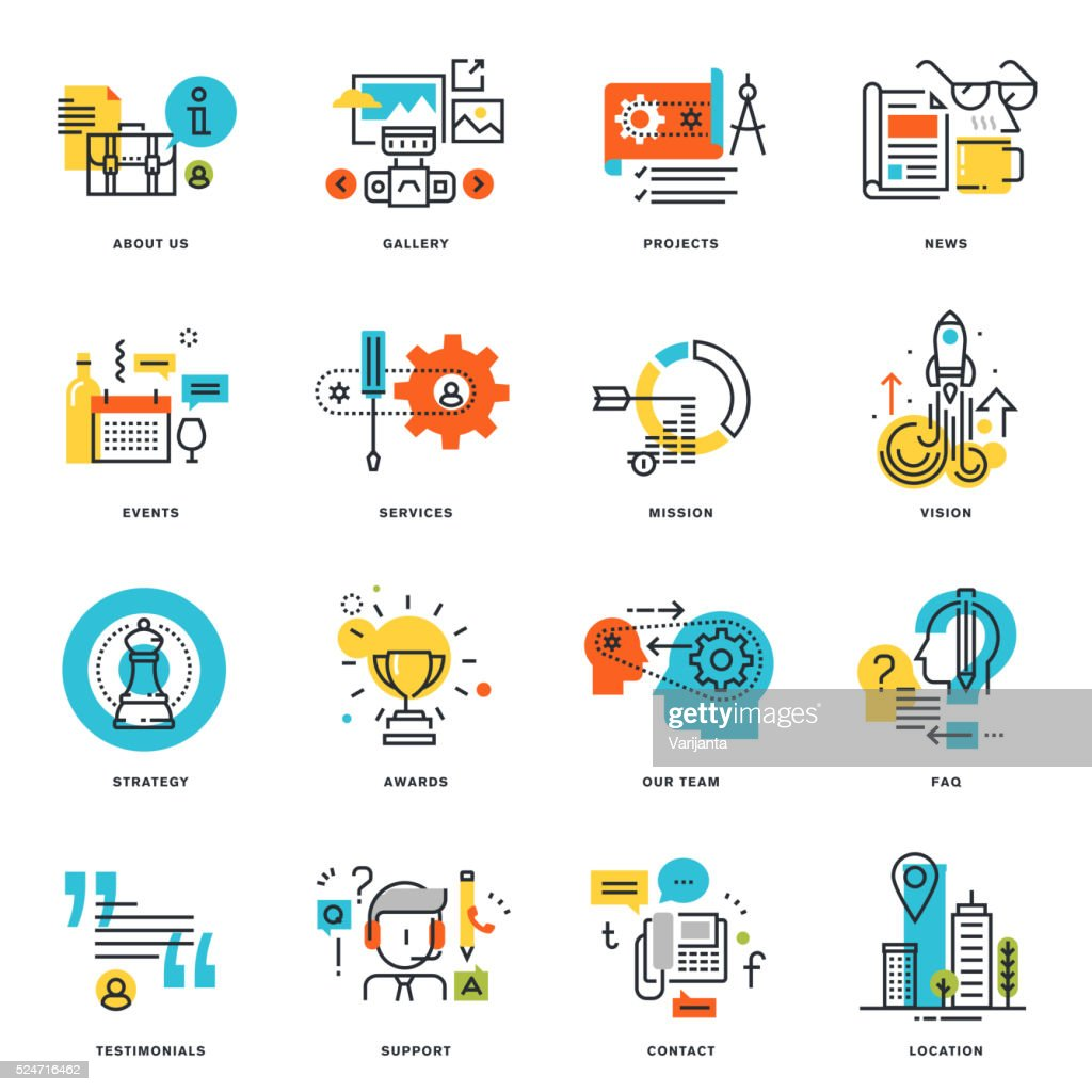 Set of flat line design business icons
